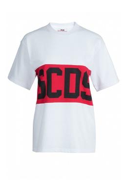 Белая футболка с контрастной отделкой GCDS 2981143739