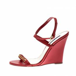 Ralph Lauren Red Leather Chain Detail Ankle Wrap Wedge Sandals Size 39.5 211239