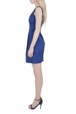 Lela Rose Cobalt Blue Embellished Cut Out Detail Plunge Neck Bodycon Dress XS 212447