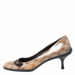 Gucci Beige GG Crystal Canvas Bow Pumps Size 36.5 212380