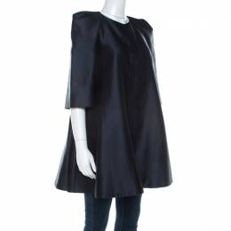 Alexander McQueen Midnight Blue Silk Wool Swing Coat S