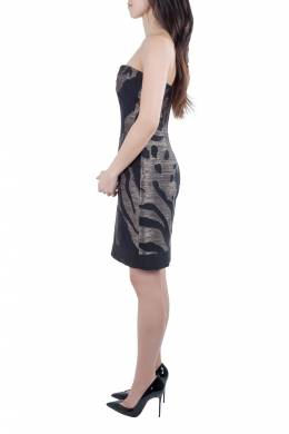 Yigal Azrouel Black and Bronze Wool Jacquard Strapless Dress S 212407