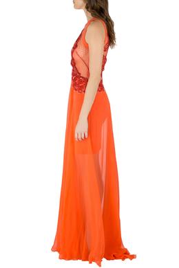 Zuhair Murad Orange Silk Chiffon Embellished Bodice Gown S 212272
