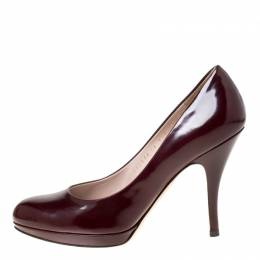 Salvatore Ferragamo Burgundy Patent Leather Pumps Size 39