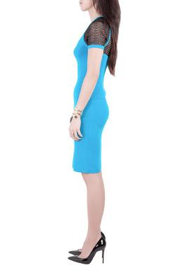 Yigal Azrouel Electric Blue Knit Diamond Colorblock Dress XS 212467