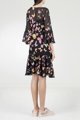 Прозрачное черное платье с принтом Twin-set 1506143433