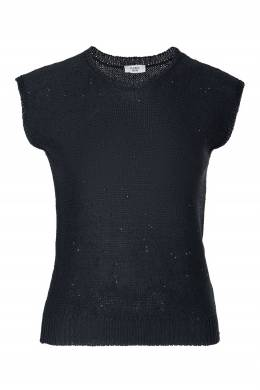 Черный джемпер без рукавов Peserico 1501143505