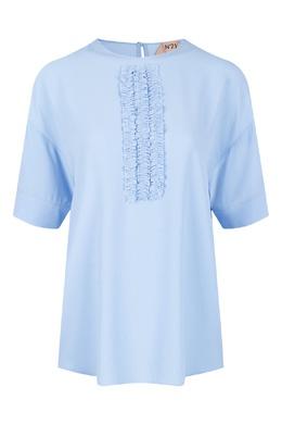 Голубая блузка с оборками на груди No. 21 35143782