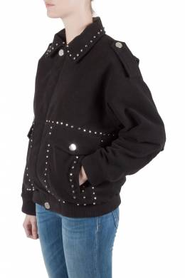 Faith Connexion Black Suede Studded Oversized Bomber Jacket M 212769