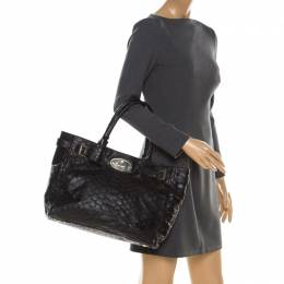 Mulberry Black Python Embossed Leather Bayswater Tote 211854