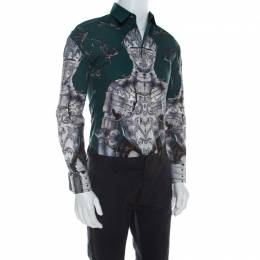 Dolce & Gabbana Green Sentry Print Cotton Long Sleeve Shirt S 211723