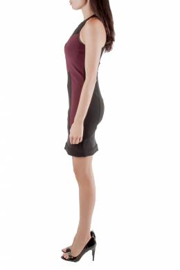 Yigal Azrouel Burgundy Stretch Knit Mesh Patch Detail Dress S 212505