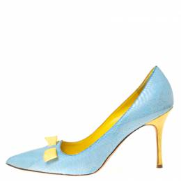 Manolo Blahnik Blue Python Leather Bow Pointed Toe Pumps Size 37 211993