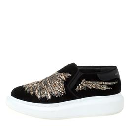 Alexander McQueen Black Crystal Embellished Velvet Slip On Platform Sneakers Size 37.5 211575