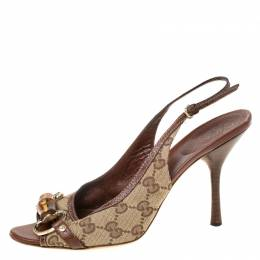 Gucci GG Canvas Bamboo Horsebit Slingback Sandals Size 38 211565