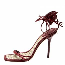 Gucci Red Leather Ankle Wrap Sandals Size 40 206523