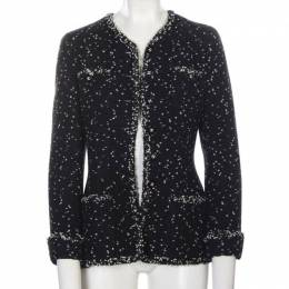 Chanel Black Printed Tweed Button Front Jacket M 195640