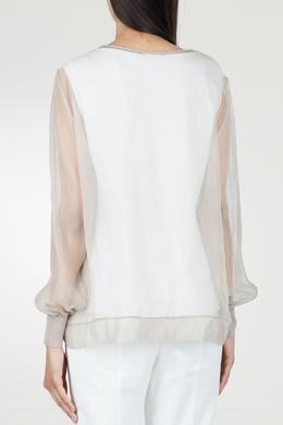 Комбинированная бежевая блузка Peserico 1501143495