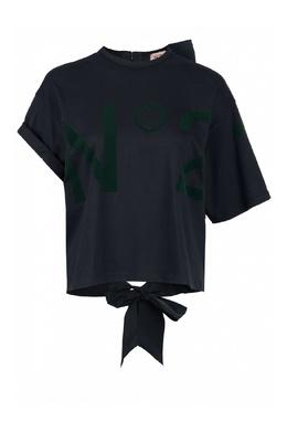 Черная футболка с асимметричной отделкой No. 21 35143823