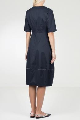 Синее платье с контрастной отделкой Peserico 1501143476
