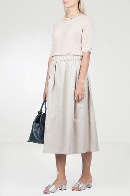 Розовое комбинированное платье-миди Peserico 1501143493