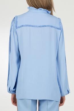 Голубая блузка с оборкой на воротнике No. 21 35143753