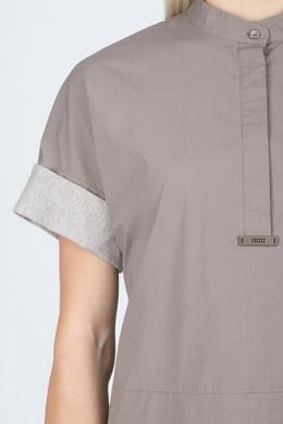 Бежевое платье с отворотами на рукавах Peserico 1501143491