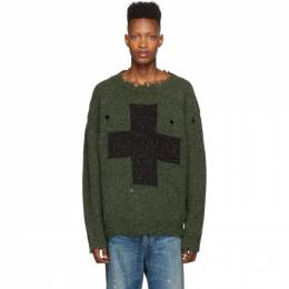 R13 Green Cross Donegal Sweater 192021M20100405GB