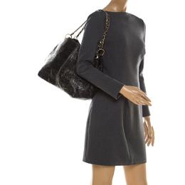 Carolina Herrera Black Monogram Leather Chain Shoulder Bag 212251
