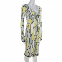 Emilio Pucci Multicolor Geometric Printed Silk Jersey Belted Dress M 212990