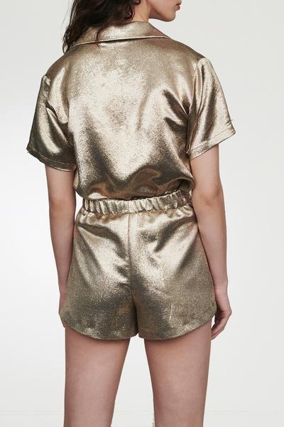 Золотистые блестящие шорты Maje 888125227 - 3