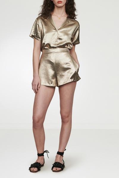 Золотистые блестящие шорты Maje 888125227 - 5