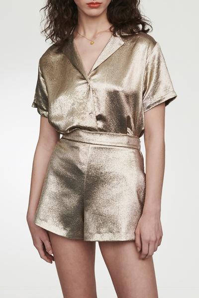 Золотистые блестящие шорты Maje 888125227 - 6