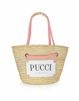 Розовая и Натуральная Сумка Tote из Соломки Emilio Pucci 9RBC76 9R904 B54 NATURALE ROSA-LIME