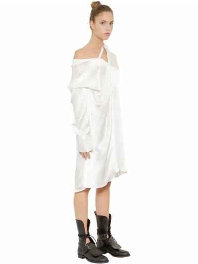 Ассиметричное Платье Из Атласа Ann Demeulemeester 67I019004-MDAy0 - 4