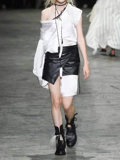 Ассиметричное Платье Из Атласа Ann Demeulemeester 67I019004-MDAy0 - 7