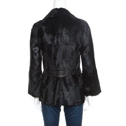 Valentino Vintage Black Dankalia Kid Goat Fur Jacket M 157450