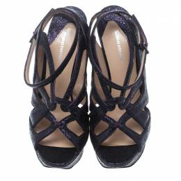 Nicholas Kirkwood Purple Ceramic Leather Ankle Straps Platform Sandals Size 39 153862
