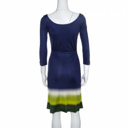 Prada Multicolor Silk Jersey Long Sleeve Belted Dress S 150861