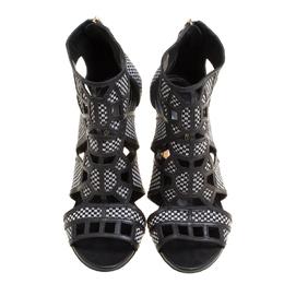 Sergio Rossi Monochrome Woven Raffia And Leather Cutout Sandals Size 36 150721