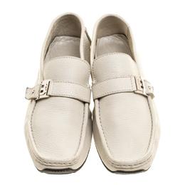 Baldinini Cream Leather Buckle Detail Loafers Size 41.5 146535