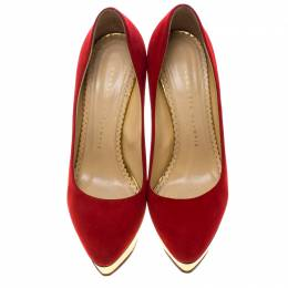 Charlotte Olympia Red Suede Dolly Platform Pumps Size 36.5 144959