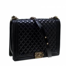 Chanel Black Quilted Leather Large Boy Flap Bag 143787
