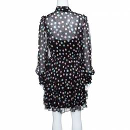 Marc Jacobs Black Pastel Polka Dotted Tiered Ruffle Detail Dress S 143565