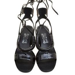 Salvatore Ferragamo Black Croc Effect Leather Glorja Cutout Sandals Size 39 133451
