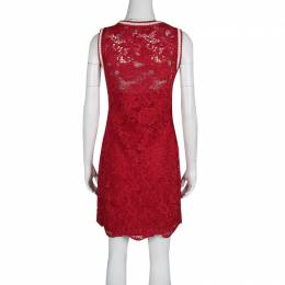 Ermanno Scervino Red Floral Lace Contrast Trim Sleeveless Dress S 135509