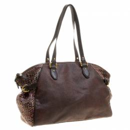 Etro Brown Paisley Printed Coated Canvas Satchel 135137