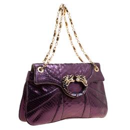Gucci Purple Python Tom Ford Jeweled Dragon Chain Clutch 129722