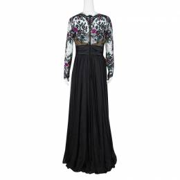 Zuhair Murad Black Lace Embellished Detail Ruched Long Sleeve Gown L 129409