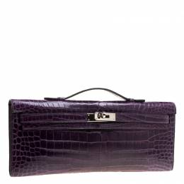 Hermes Ultraviolet Porosus Crocodile Kelly Cut Clutch 129749